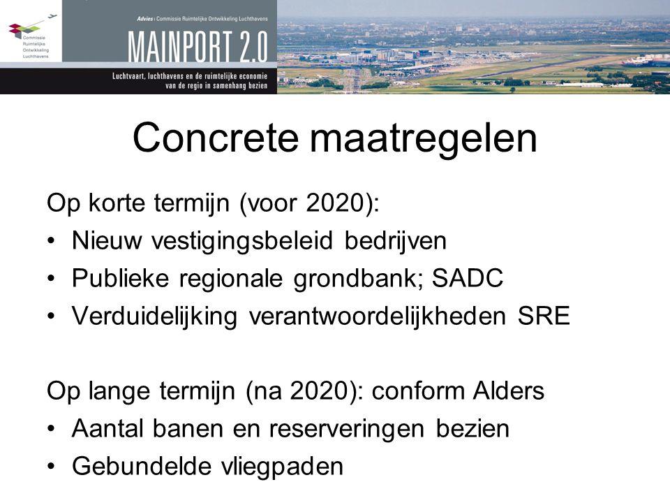 Concrete maatregelen Op korte termijn (voor 2020): •Nieuw vestigingsbeleid bedrijven •Publieke regionale grondbank; SADC •Verduidelijking verantwoorde