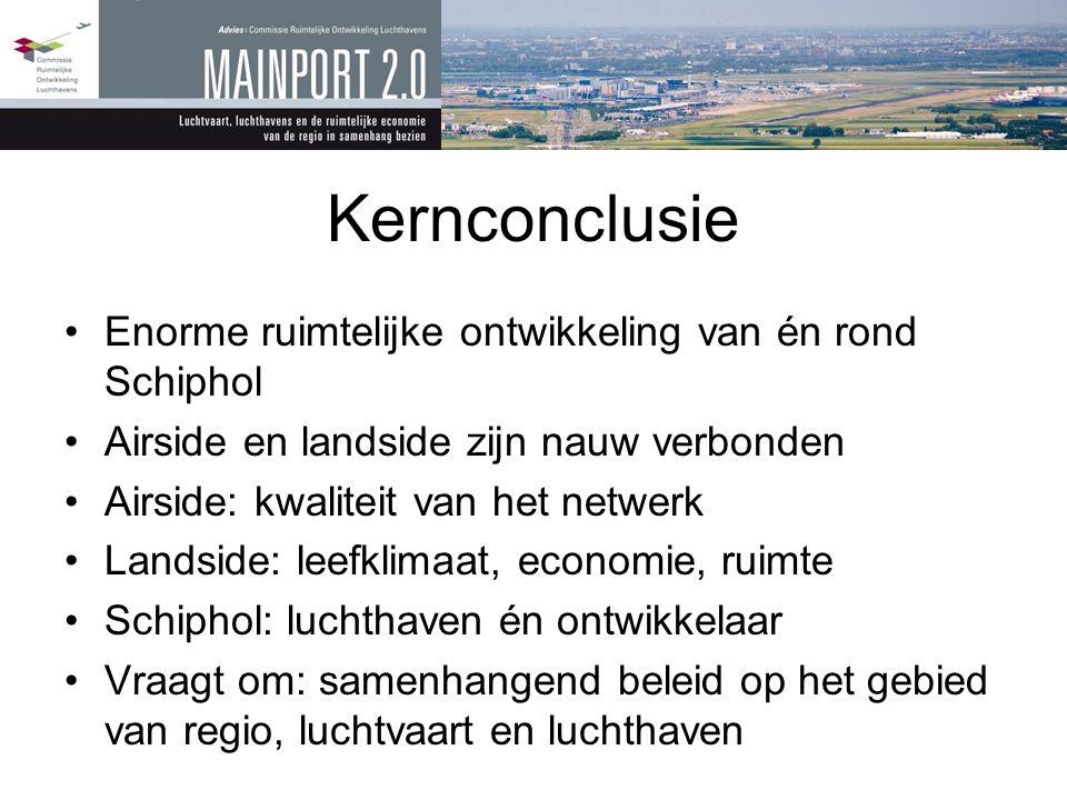 Kernconclusie •Enorme ruimtelijke ontwikkeling van én rond Schiphol •Airside en landside zijn nauw verbonden •Airside: kwaliteit van het netwerk •Land