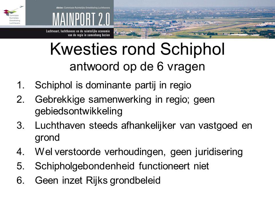 Kwesties rond Schiphol antwoord op de 6 vragen 1.Schiphol is dominante partij in regio 2.Gebrekkige samenwerking in regio; geen gebiedsontwikkeling 3.
