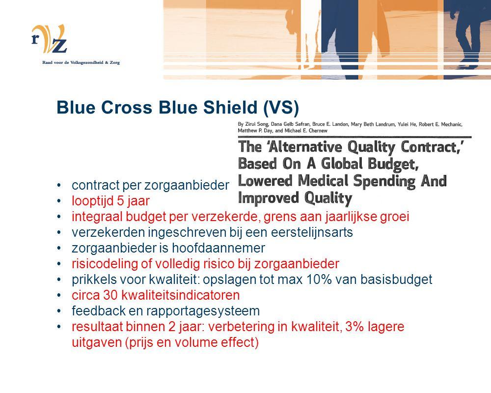 Blue Cross Blue Shield (VS) •contract per zorgaanbieder •looptijd 5 jaar •integraal budget per verzekerde, grens aan jaarlijkse groei •verzekerden ingeschreven bij een eerstelijnsarts •zorgaanbieder is hoofdaannemer •risicodeling of volledig risico bij zorgaanbieder •prikkels voor kwaliteit: opslagen tot max 10% van basisbudget •circa 30 kwaliteitsindicatoren •feedback en rapportagesysteem •resultaat binnen 2 jaar: verbetering in kwaliteit, 3% lagere uitgaven (prijs en volume effect)