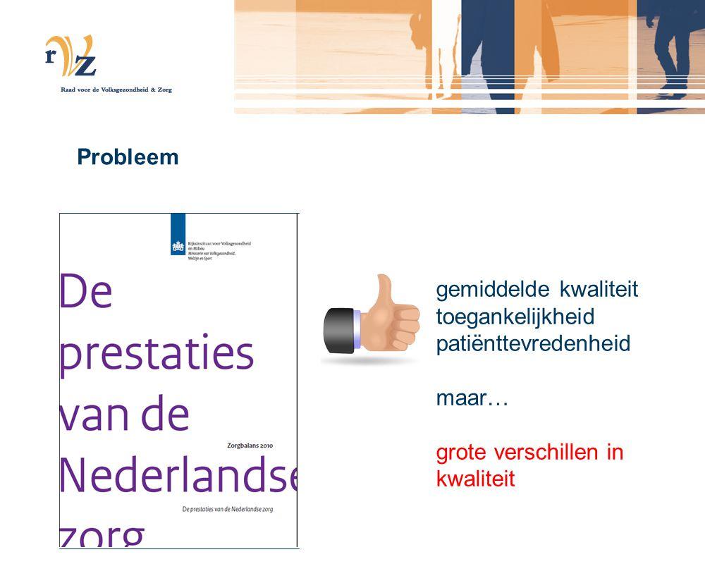 Probleem gemiddelde kwaliteit toegankelijkheid patiënttevredenheid maar… grote verschillen in kwaliteit