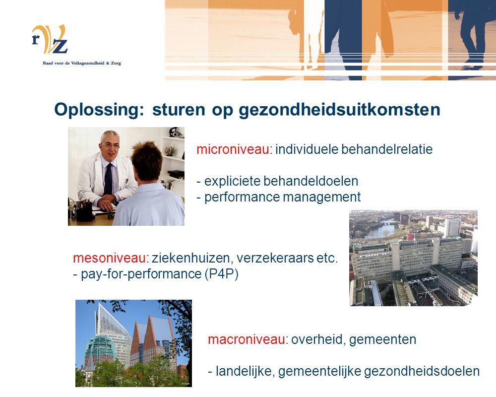 Oplossing: sturen op gezondheidsuitkomsten macroniveau: overheid, gemeenten - landelijke, gemeentelijke gezondheidsdoelen mesoniveau: ziekenhuizen, verzekeraars etc.
