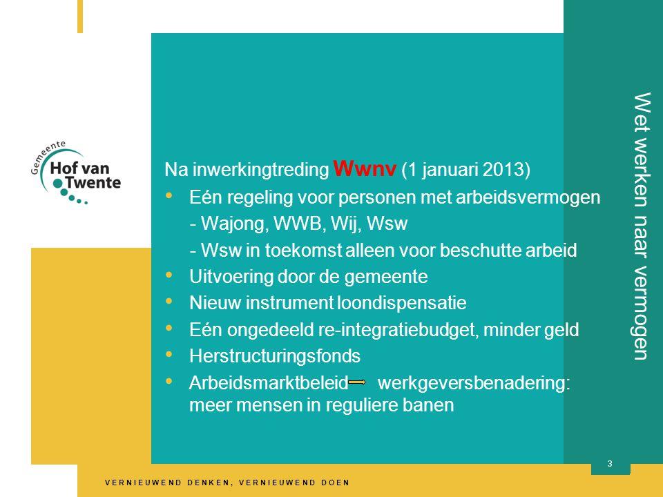 V E R N I E U W E N D D E N K E N, V E R N I E U W E N D D O E N Na inwerkingtreding Wwnv (1 januari 2013) • Eén regeling voor personen met arbeidsvermogen - Wajong, WWB, Wij, Wsw - Wsw in toekomst alleen voor beschutte arbeid • Uitvoering door de gemeente • Nieuw instrument loondispensatie • Eén ongedeeld re-integratiebudget, minder geld • Herstructuringsfonds • Arbeidsmarktbeleid werkgeversbenadering: meer mensen in reguliere banen 3 Wet werken naar vermogen