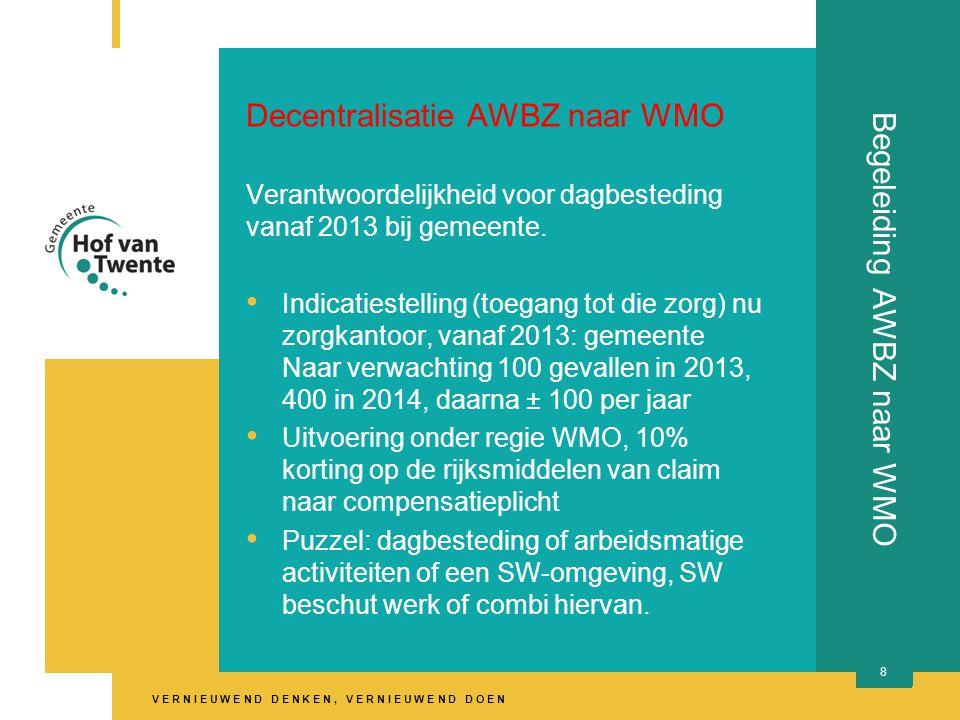V E R N I E U W E N D D E N K E N, V E R N I E U W E N D D O E N Begeleiding AWBZ naar WMO Decentralisatie AWBZ naar WMO Verantwoordelijkheid voor dagbesteding vanaf 2013 bij gemeente.