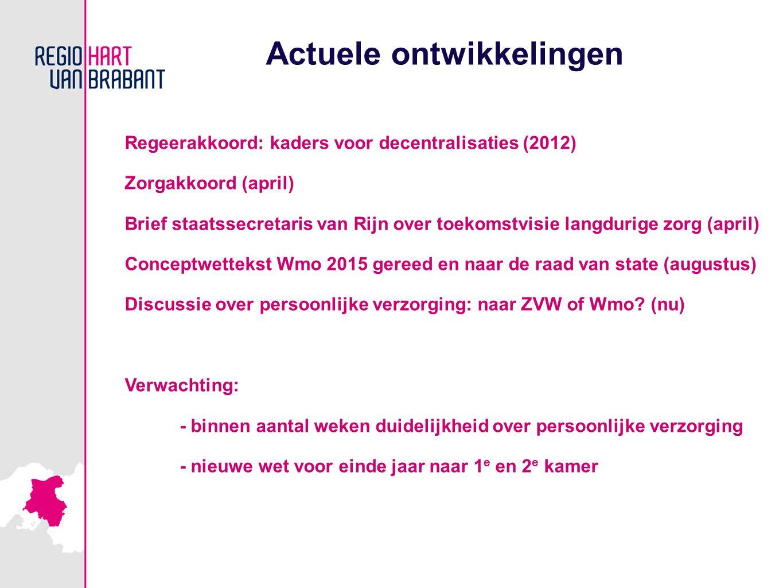 Actuele ontwikkelingen Regeerakkoord: kaders voor decentralisaties (2012) Zorgakkoord (april) Brief staatssecretaris van Rijn over toekomstvisie langdurige zorg (april) Conceptwettekst Wmo 2015 gereed en naar de raad van state (augustus) Discussie over persoonlijke verzorging: naar ZVW of Wmo.