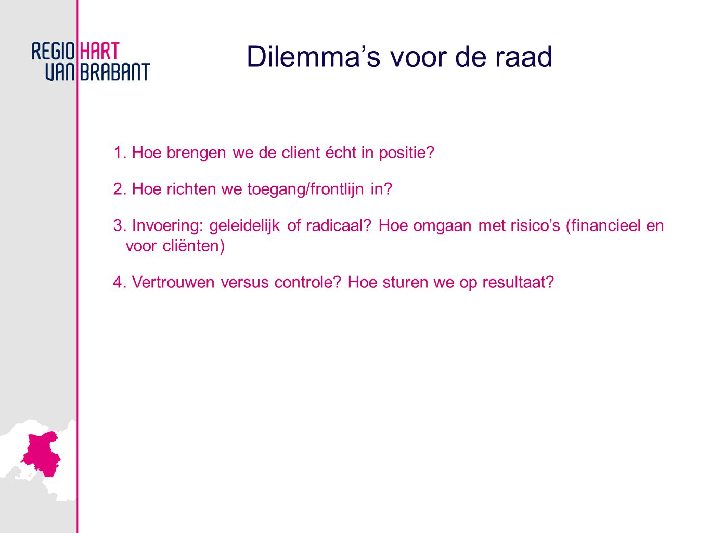 Dilemma's voor de raad 1. Hoe brengen we de client écht in positie? 2. Hoe richten we toegang/frontlijn in? 3. Invoering: geleidelijk of radicaal? Hoe