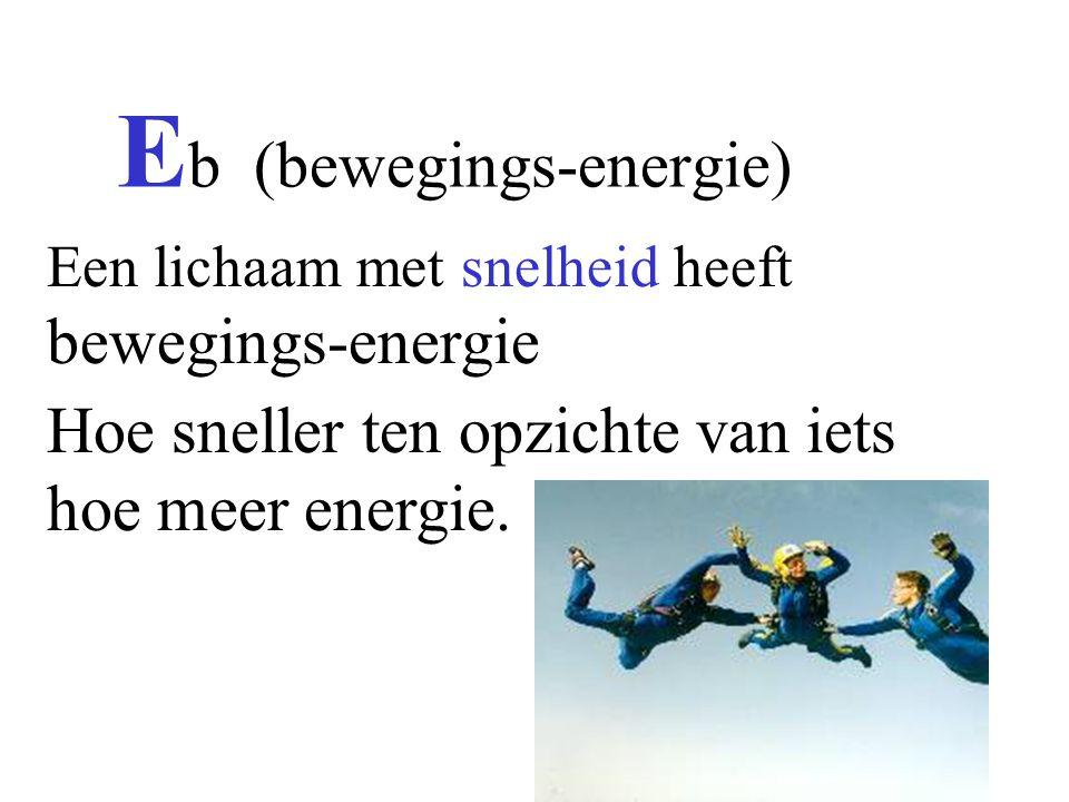 E b (bewegings-energie) Een lichaam met snelheid heeft bewegings-energie Hoe sneller ten opzichte van iets hoe meer energie.