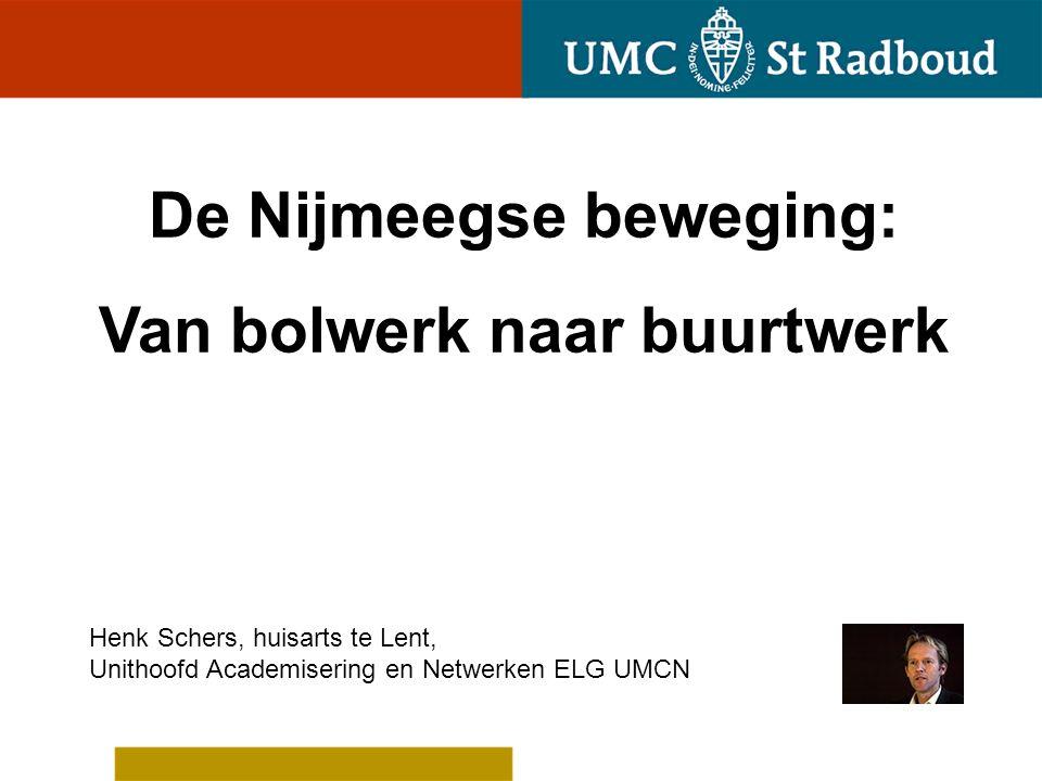 De Nijmeegse beweging: Van bolwerk naar buurtwerk Henk Schers, huisarts te Lent, Unithoofd Academisering en Netwerken ELG UMCN