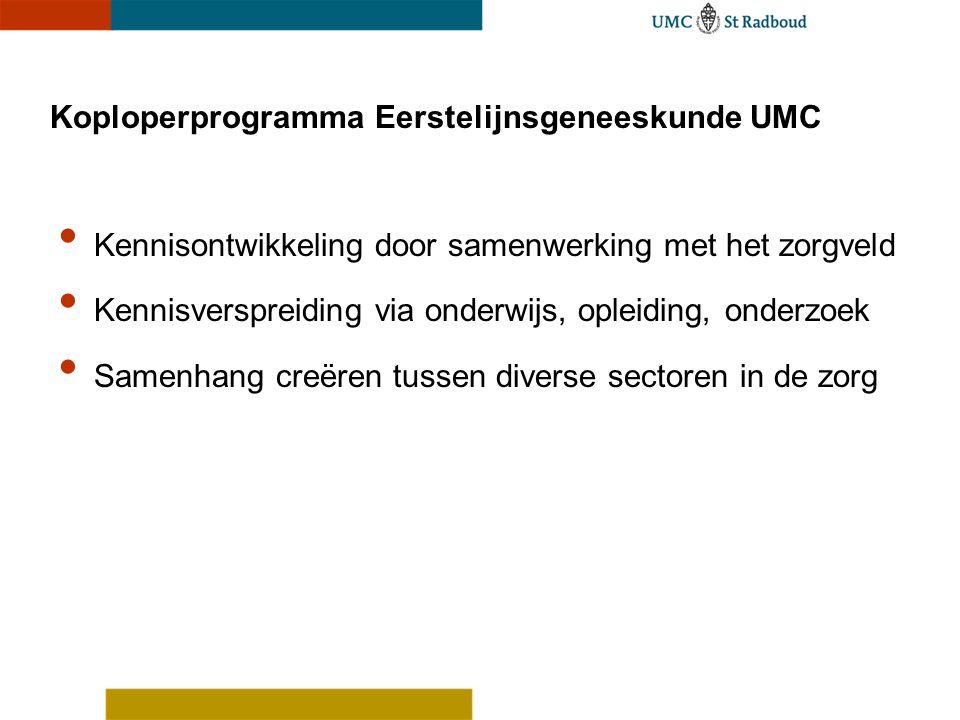 Koploperprogramma Eerstelijnsgeneeskunde UMC • Kennisontwikkeling door samenwerking met het zorgveld • Kennisverspreiding via onderwijs, opleiding, on