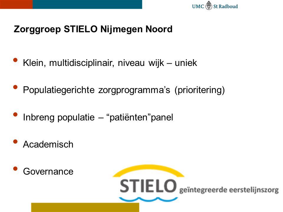 Zorggroep STIELO Nijmegen Noord • Klein, multidisciplinair, niveau wijk – uniek • Populatiegerichte zorgprogramma's (prioritering) • Inbreng populatie
