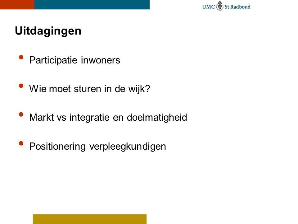 Uitdagingen • Participatie inwoners • Wie moet sturen in de wijk? • Markt vs integratie en doelmatigheid • Positionering verpleegkundigen