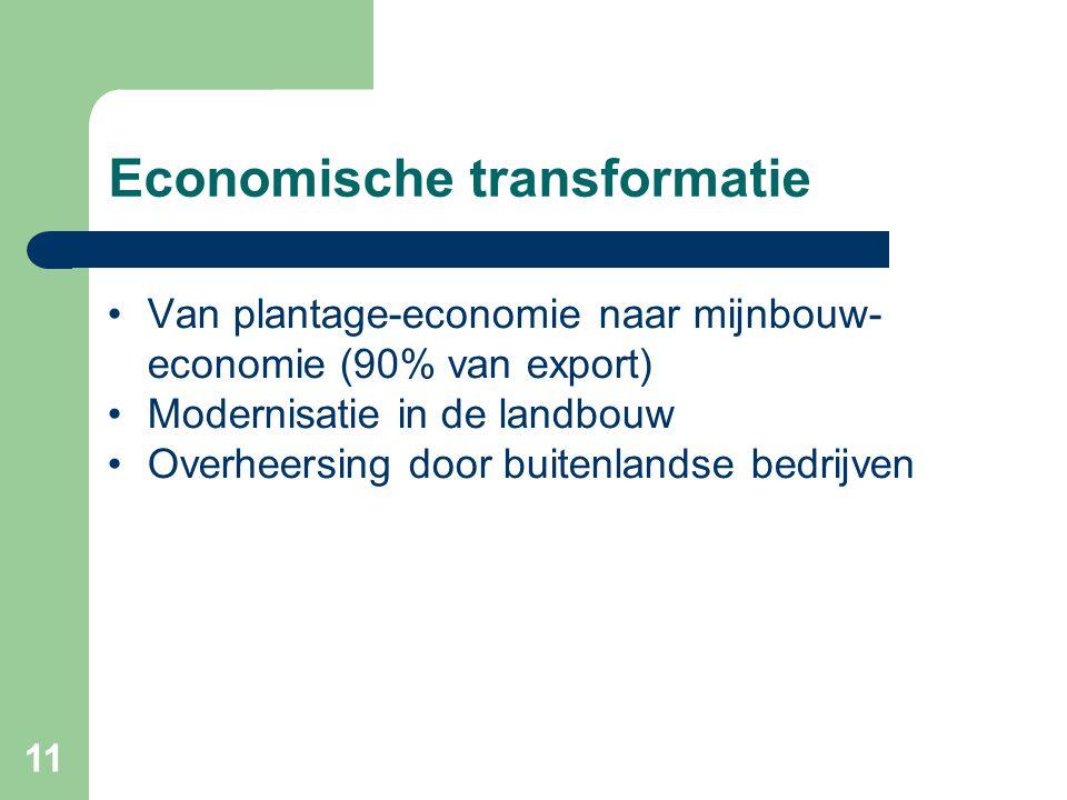 11 Economische transformatie •Van plantage-economie naar mijnbouw- economie (90% van export) •Modernisatie in de landbouw •Overheersing door buitenlan
