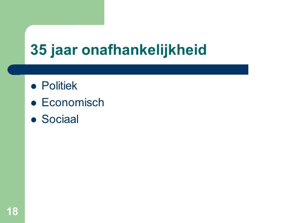 18 35 jaar onafhankelijkheid  Politiek  Economisch  Sociaal