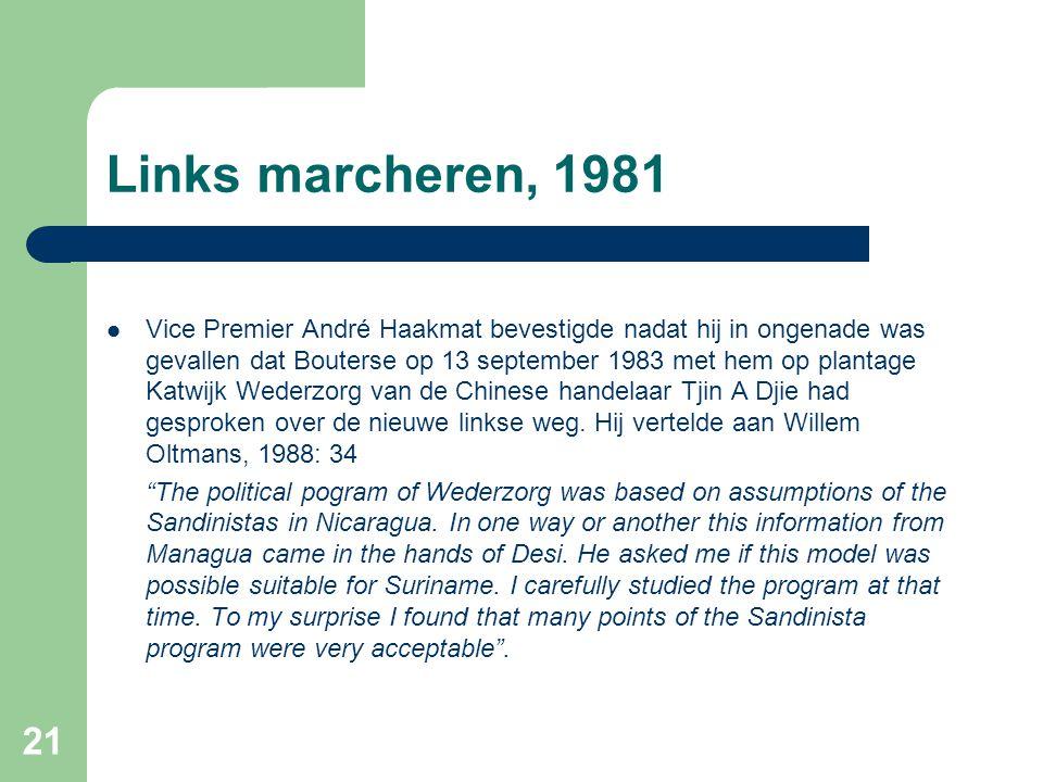 Links marcheren, 1981  Vice Premier André Haakmat bevestigde nadat hij in ongenade was gevallen dat Bouterse op 13 september 1983 met hem op plantage