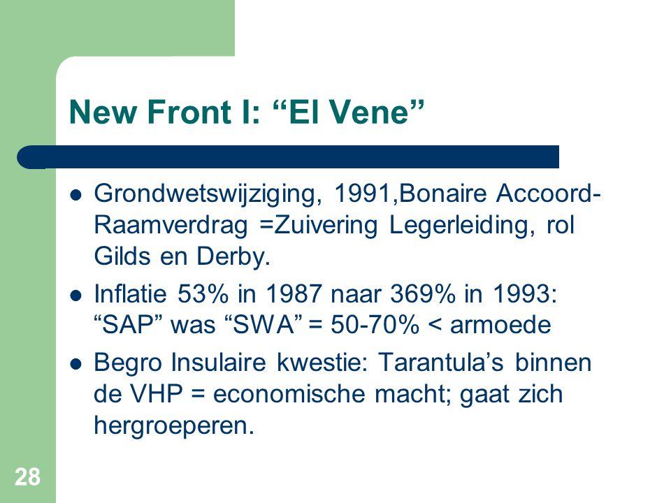 """New Front I: """"El Vene""""  Grondwetswijziging, 1991,Bonaire Accoord- Raamverdrag =Zuivering Legerleiding, rol Gilds en Derby.  Inflatie 53% in 1987 naa"""