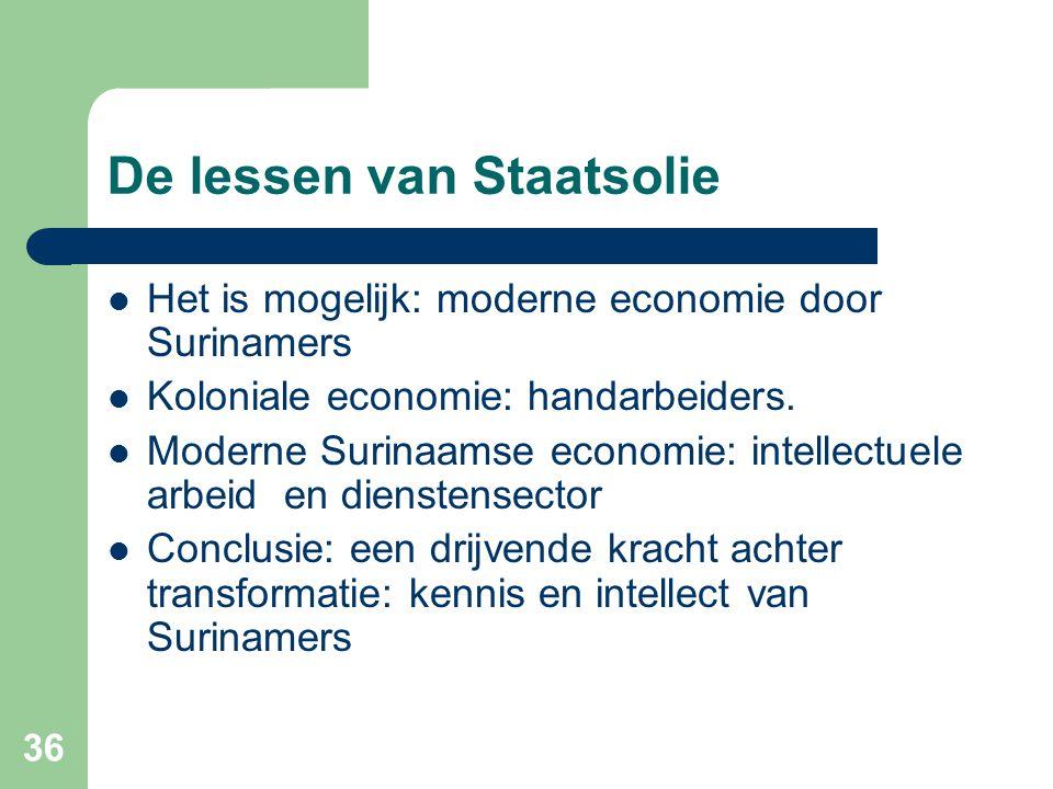 36 De lessen van Staatsolie  Het is mogelijk: moderne economie door Surinamers  Koloniale economie: handarbeiders.  Moderne Surinaamse economie: in
