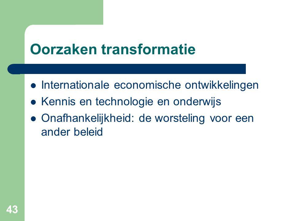 43 Oorzaken transformatie  Internationale economische ontwikkelingen  Kennis en technologie en onderwijs  Onafhankelijkheid: de worsteling voor een