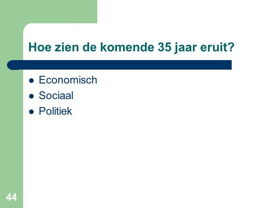 44 Hoe zien de komende 35 jaar eruit?  Economisch  Sociaal  Politiek