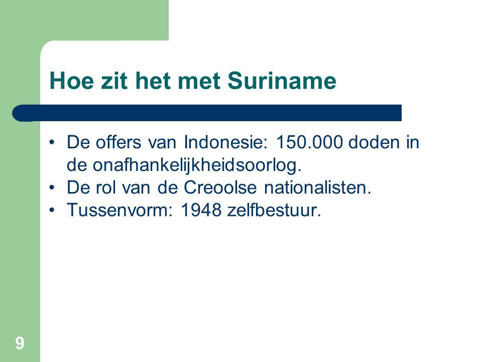 9 Hoe zit het met Suriname •De offers van Indonesie: 150.000 doden in de onafhankelijkheidsoorlog. •De rol van de Creoolse nationalisten. •Tussenvorm: