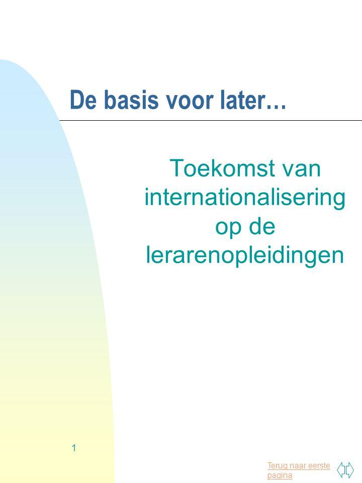Terug naar eerste pagina 1 De basis voor later… Toekomst van internationalisering op de lerarenopleidingen
