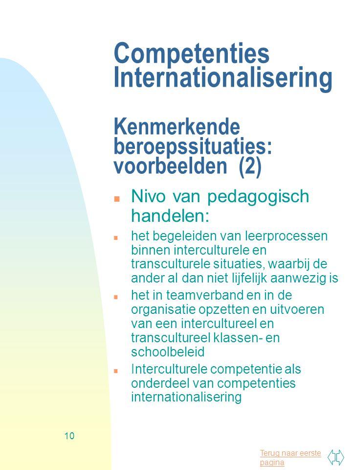 Terug naar eerste pagina 10 Competenties Internationalisering Kenmerkende beroepssituaties: voorbeelden (2) n Nivo van pedagogisch handelen: n het begeleiden van leerprocessen binnen interculturele en transculturele situaties, waarbij de ander al dan niet lijfelijk aanwezig is n het in teamverband en in de organisatie opzetten en uitvoeren van een intercultureel en transcultureel klassen- en schoolbeleid n Interculturele competentie als onderdeel van competenties internationalisering