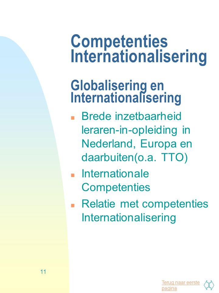 Terug naar eerste pagina 11 Competenties Internationalisering Globalisering en Internationalisering n Brede inzetbaarheid leraren-in-opleiding in Nederland, Europa en daarbuiten(o.a.