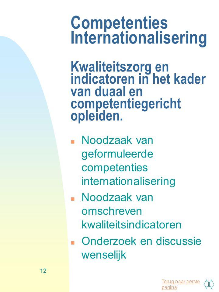 Terug naar eerste pagina 12 Competenties Internationalisering Kwaliteitszorg en indicatoren in het kader van duaal en competentiegericht opleiden. n N