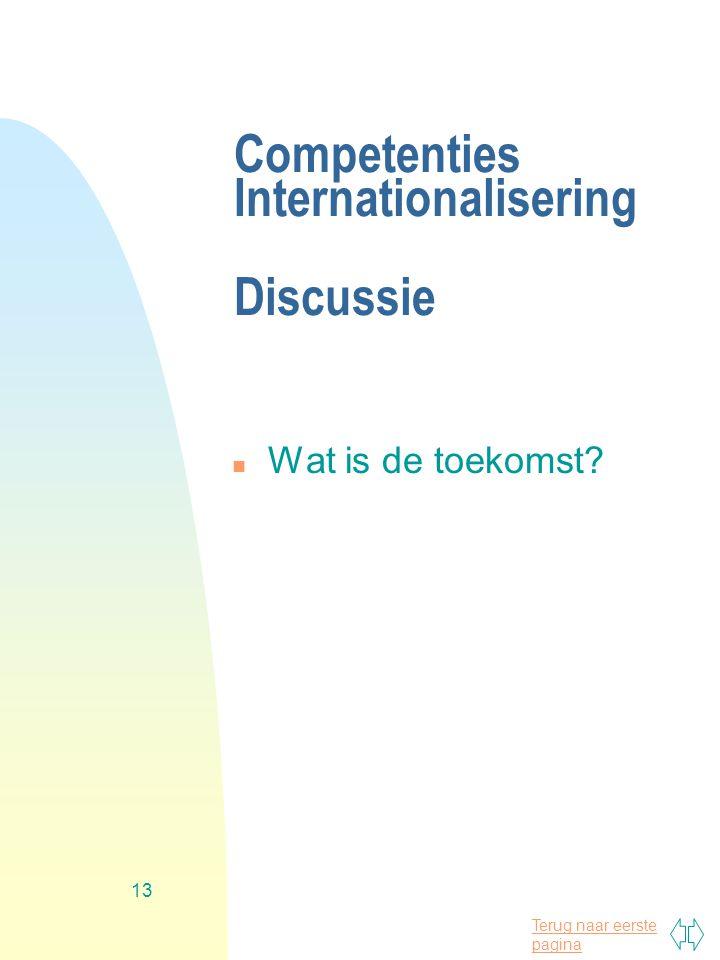 Terug naar eerste pagina 13 Competenties Internationalisering Discussie n Wat is de toekomst?