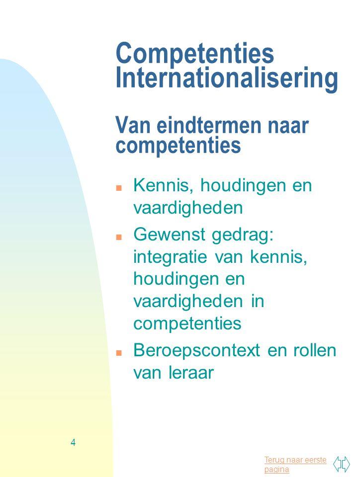 Terug naar eerste pagina 4 Competenties Internationalisering Van eindtermen naar competenties n Kennis, houdingen en vaardigheden n Gewenst gedrag: integratie van kennis, houdingen en vaardigheden in competenties n Beroepscontext en rollen van leraar