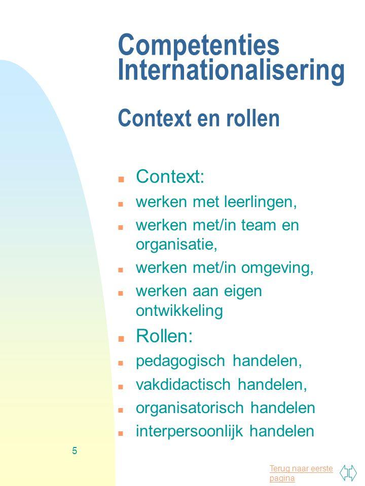 Terug naar eerste pagina 5 Competenties Internationalisering Context en rollen n Context: n werken met leerlingen, n werken met/in team en organisatie