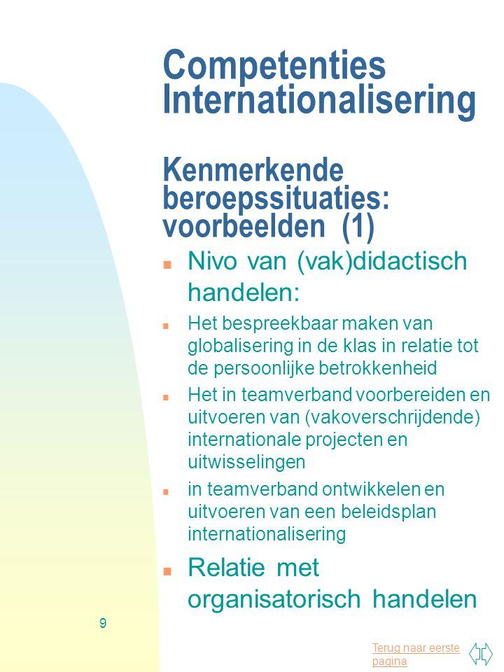 Terug naar eerste pagina 9 Competenties Internationalisering Kenmerkende beroepssituaties: voorbeelden (1) n Nivo van (vak)didactisch handelen: n Het
