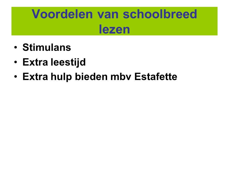 Voordelen van schoolbreed lezen •Stimulans •Extra leestijd •Extra hulp bieden mbv Estafette
