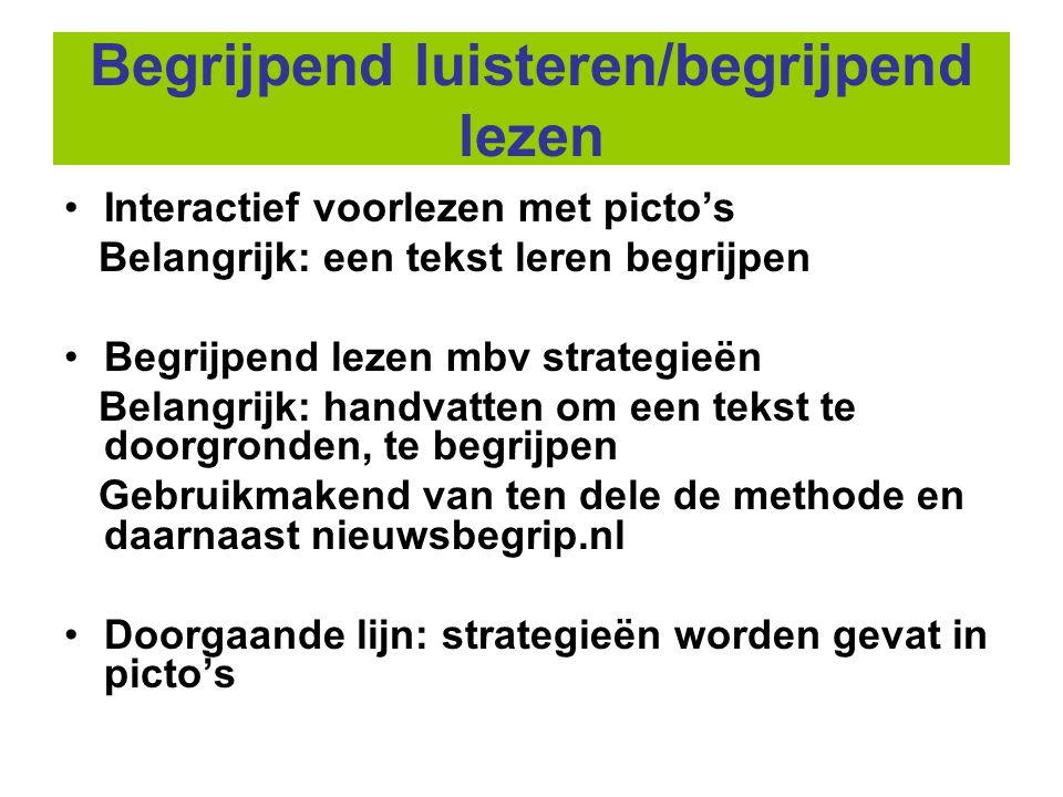 Begrijpend luisteren/begrijpend lezen •Interactief voorlezen met picto's Belangrijk: een tekst leren begrijpen •Begrijpend lezen mbv strategieën Belan