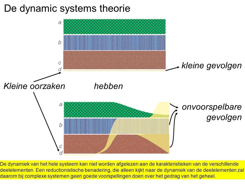 De dynamic systems theorie kleine gevolgen Kleine oorzaken hebben onvoorspelbare gevolgen De dynamiek van het hele systeem kan niet worden afgelezen a