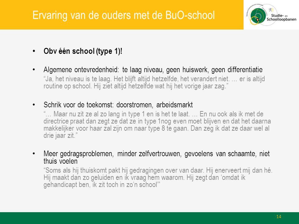 """Ervaring van de ouders met de BuO-school • Obv één school (type 1)! • Algemene ontevredenheid: te laag niveau, geen huiswerk, geen differentiatie """"Ja,"""