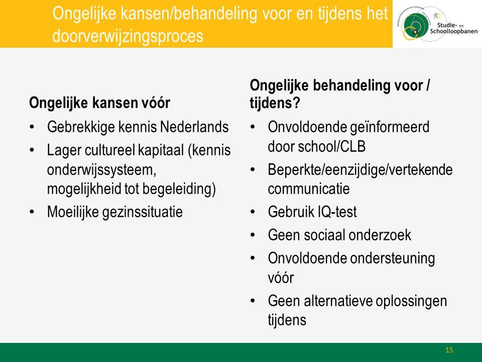 Ongelijke kansen/behandeling voor en tijdens het doorverwijzingsproces Ongelijke kansen vóór • Gebrekkige kennis Nederlands • Lager cultureel kapitaal