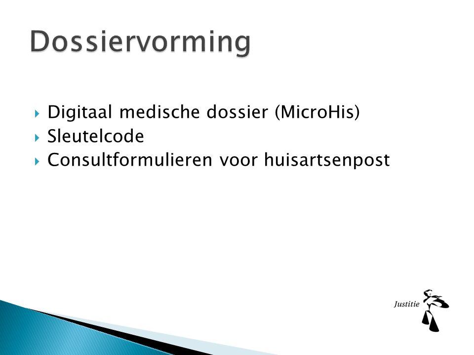  Digitaal medische dossier (MicroHis)  Sleutelcode  Consultformulieren voor huisartsenpost