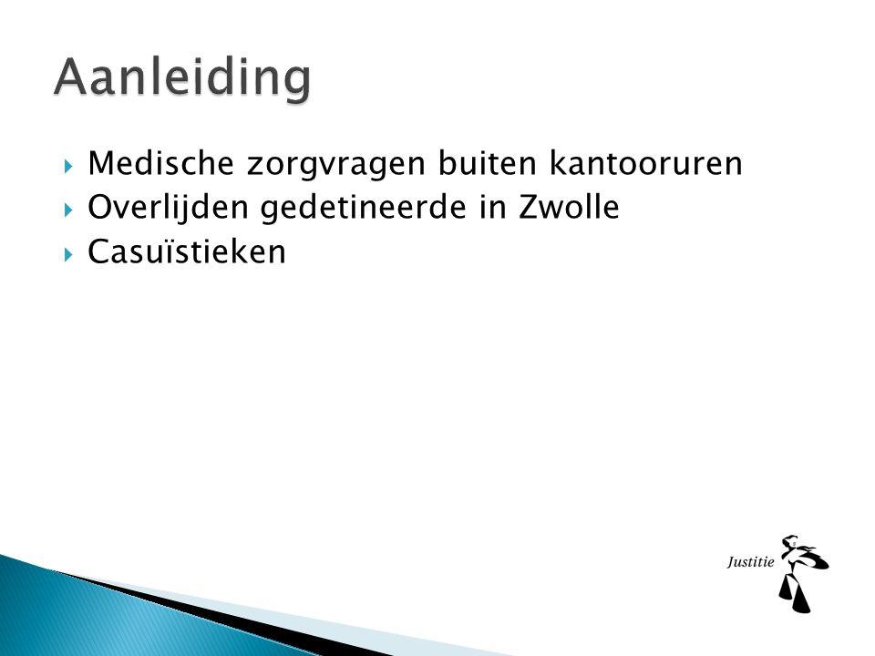  Medische zorgvragen buiten kantooruren  Overlijden gedetineerde in Zwolle  Casuïstieken