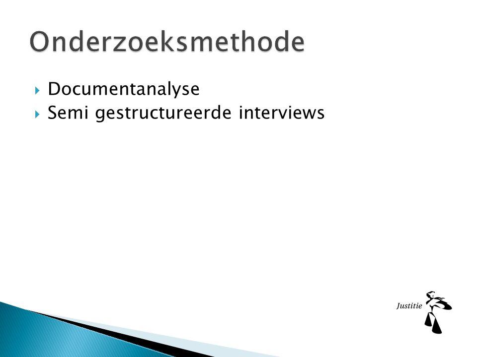  Documentanalyse  Semi gestructureerde interviews