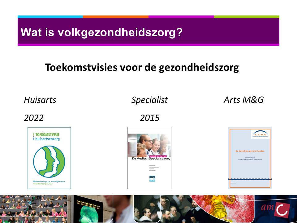 Wat is volkgezondheidszorg? Huisarts 2022 Toekomstvisies voor de gezondheidszorg Specialist 2015 Arts M&G
