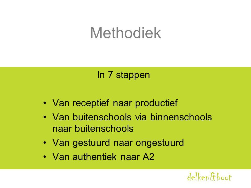 Methodiek In 7 stappen •Van receptief naar productief •Van buitenschools via binnenschools naar buitenschools •Van gestuurd naar ongestuurd •Van authe