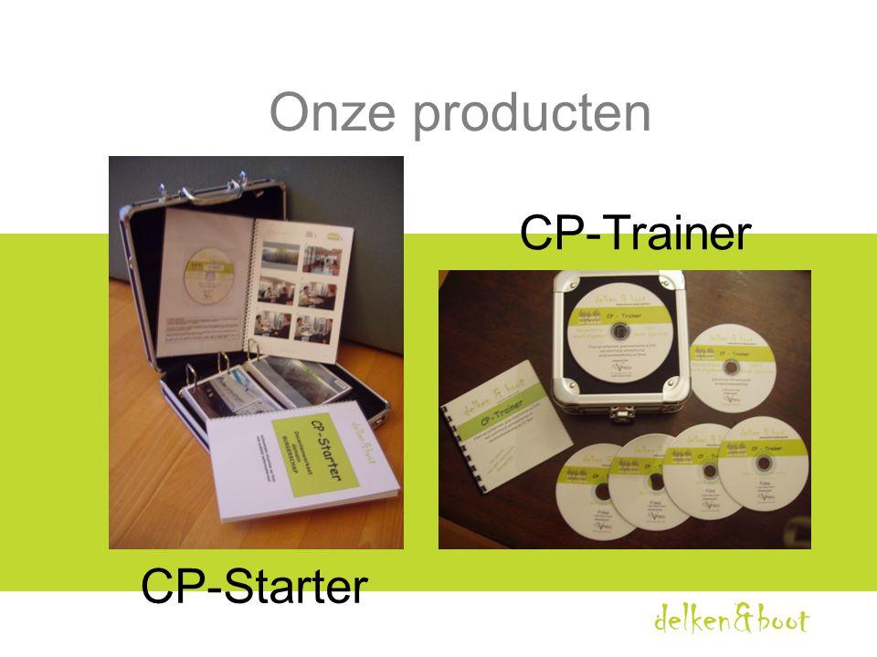 Inhoud CP-Trainer •100 authentieke films van cp's 4 DVD's:  burgerschap  OGO  werken algemeen  werken specifiek • Lesmateriaal bij elke film (op cd-rom) • Docentenhandleiding ( op cd-rom)