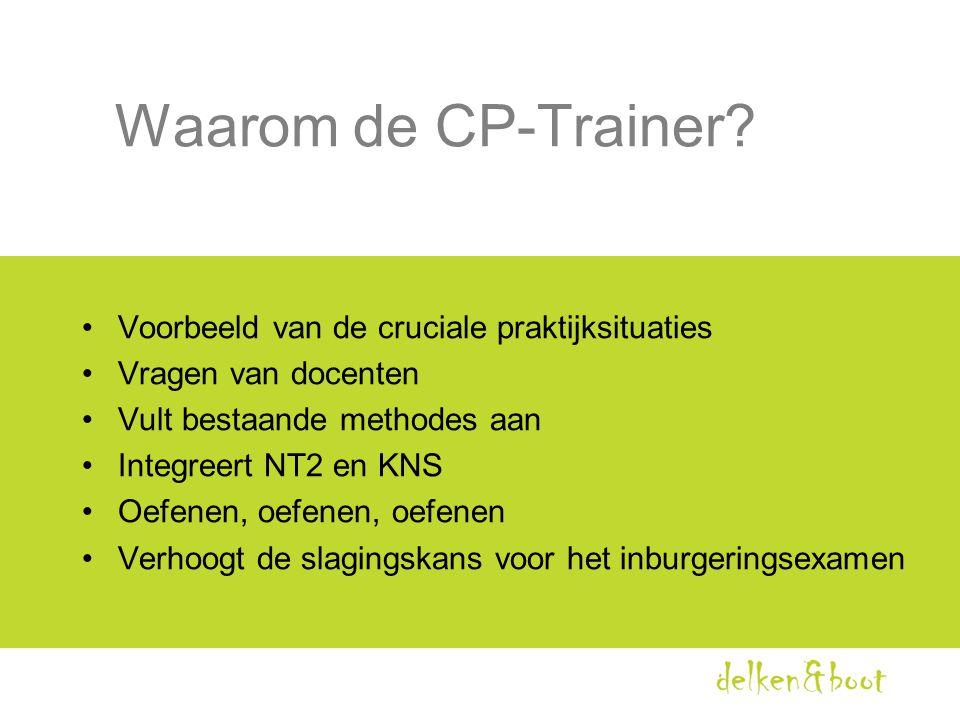Waarom de CP-Trainer? •Voorbeeld van de cruciale praktijksituaties •Vragen van docenten •Vult bestaande methodes aan •Integreert NT2 en KNS •Oefenen,