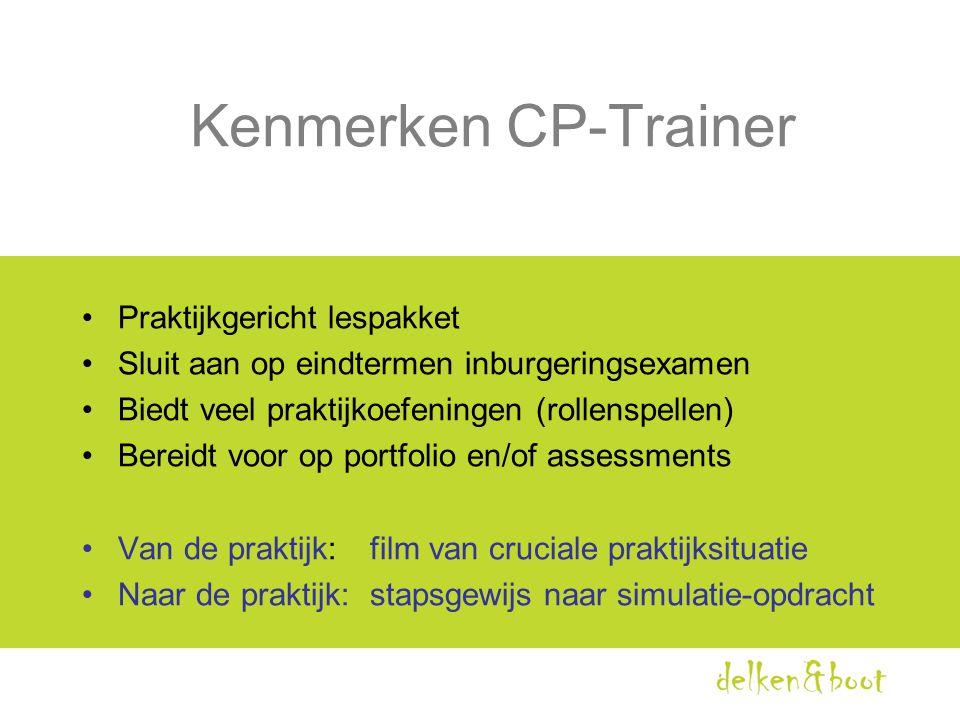 Kenmerken CP-Trainer •Praktijkgericht lespakket •Sluit aan op eindtermen inburgeringsexamen •Biedt veel praktijkoefeningen (rollenspellen) •Bereidt vo