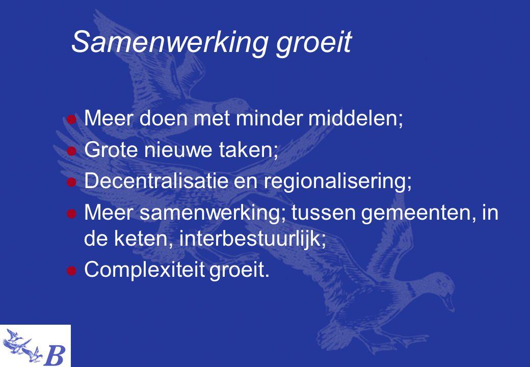 Samenwerking groeit  Meer doen met minder middelen;  Grote nieuwe taken;  Decentralisatie en regionalisering;  Meer samenwerking; tussen gemeenten, in de keten, interbestuurlijk;  Complexiteit groeit.