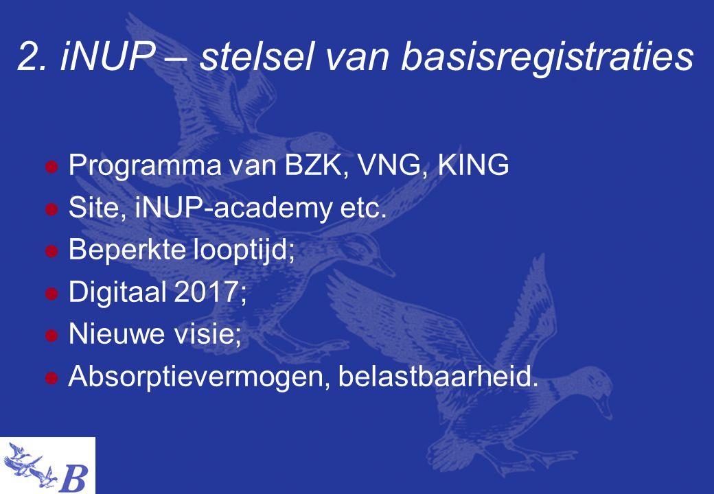 2.iNUP – stelsel van basisregistraties  Programma van BZK, VNG, KING  Site, iNUP-academy etc.