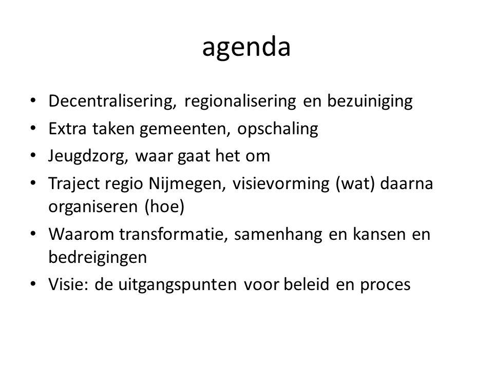 Decentraliseren en regionaliseren • Decentralisering: jeugdzorg, functie begeleiding/AWBZ, wet werken naar vermogen, passend onderwijs.