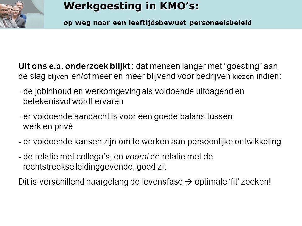 """Werkgoesting in KMO's: op weg naar een leeftijdsbewust personeelsbeleid Uit ons e.a. onderzoek blijkt : dat mensen langer met """"goesting"""" aan de slag b"""