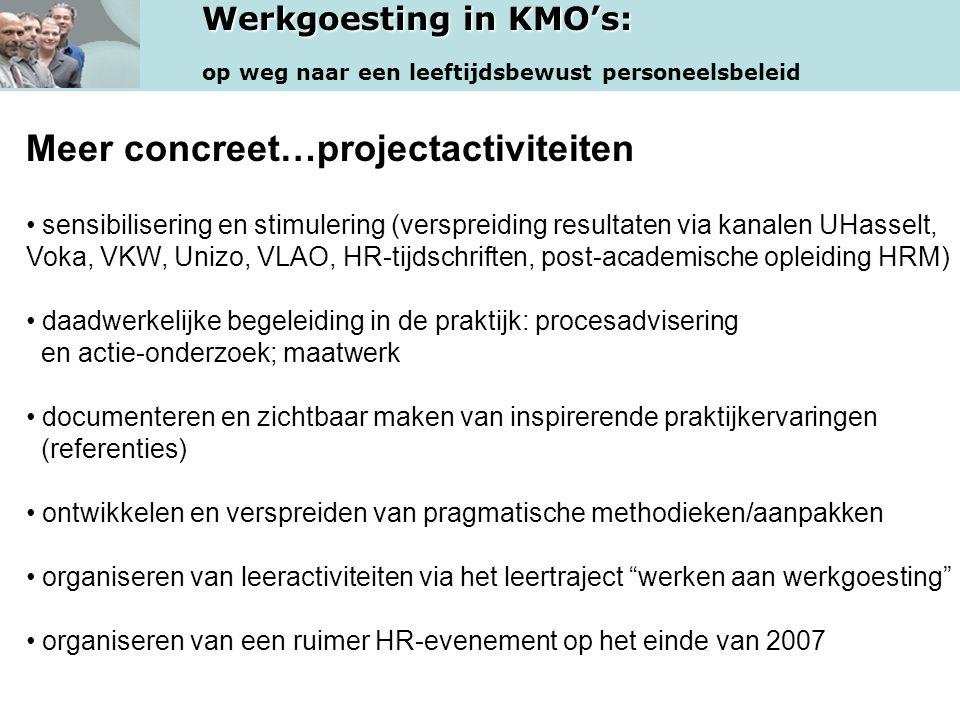 Werkgoesting in KMO's: op weg naar een leeftijdsbewust personeelsbeleid Meer concreet…projectactiviteiten • sensibilisering en stimulering (verspreidi