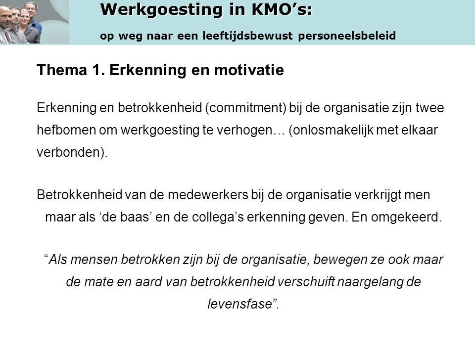 Werkgoesting in KMO's: op weg naar een leeftijdsbewust personeelsbeleid Thema 1. Erkenning en motivatie Erkenning en betrokkenheid (commitment) bij de